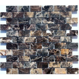 "Dark Emperador Mosaic Polished - 1"" X 2"""
