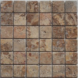 "Scabos/Sunset Travertine Mosaic - 2""X2"""