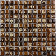 "Crystallized Porcelain Mosaic - Brown 1""X1"""