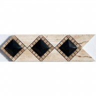 3D Diamond Back Travertine, Shanxi Black Insert