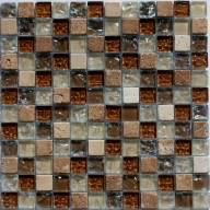 "Frost/Medium Brown Glass, Travertine - 1"" X 1"""
