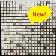 "Glass/Stone/Metal Blend Mosaic, Sandy Fusion, 5/8""x5/8"""