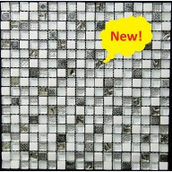 "Glass/Stone/Metal Blend Mosaic, Arctic Fusion, 5/8""x5/8"""