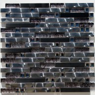 Metal Mosaic - stainless steel & silver foil glass stripe
