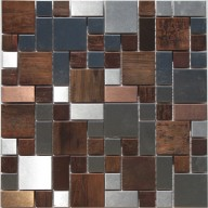 Metal Mosaic - Stainless Steel, Black Steel and Copper - Mini Versaille