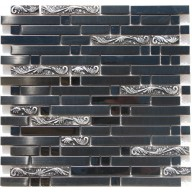 Metal Mosaic - black steel & resin stripe