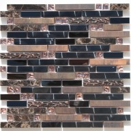 Metal Mosaic - copper, resin, dark emperador stripe & brown galss dots